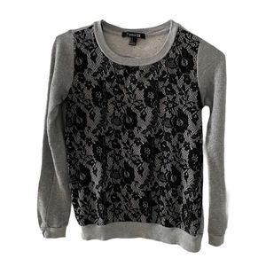 Forever 21Women's Long Sleeve Lace Front Crew S